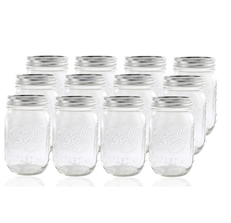 BALL PINT MASON JARS - 12 JARSREGULAR MOUTH
