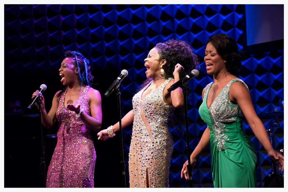 Carla J. Hargrove, DeQuina Moore, and Trisha Jeffrey at the 7th Annual LIVING FOR TODAY Concert at Joe's Pub.  October 27, 2015.  Photo by Aaron Lenhart.