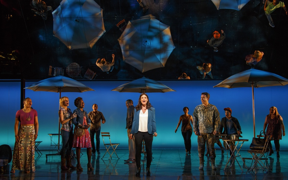Idina Menzel and the Company of If/Then.  Photo by Joan Marcus.