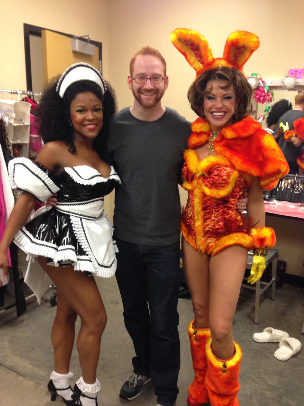 DeQuina Moore (Kiki), David Alpert, and Rachelle Rak (Tess) in Flashdance: The Musical .