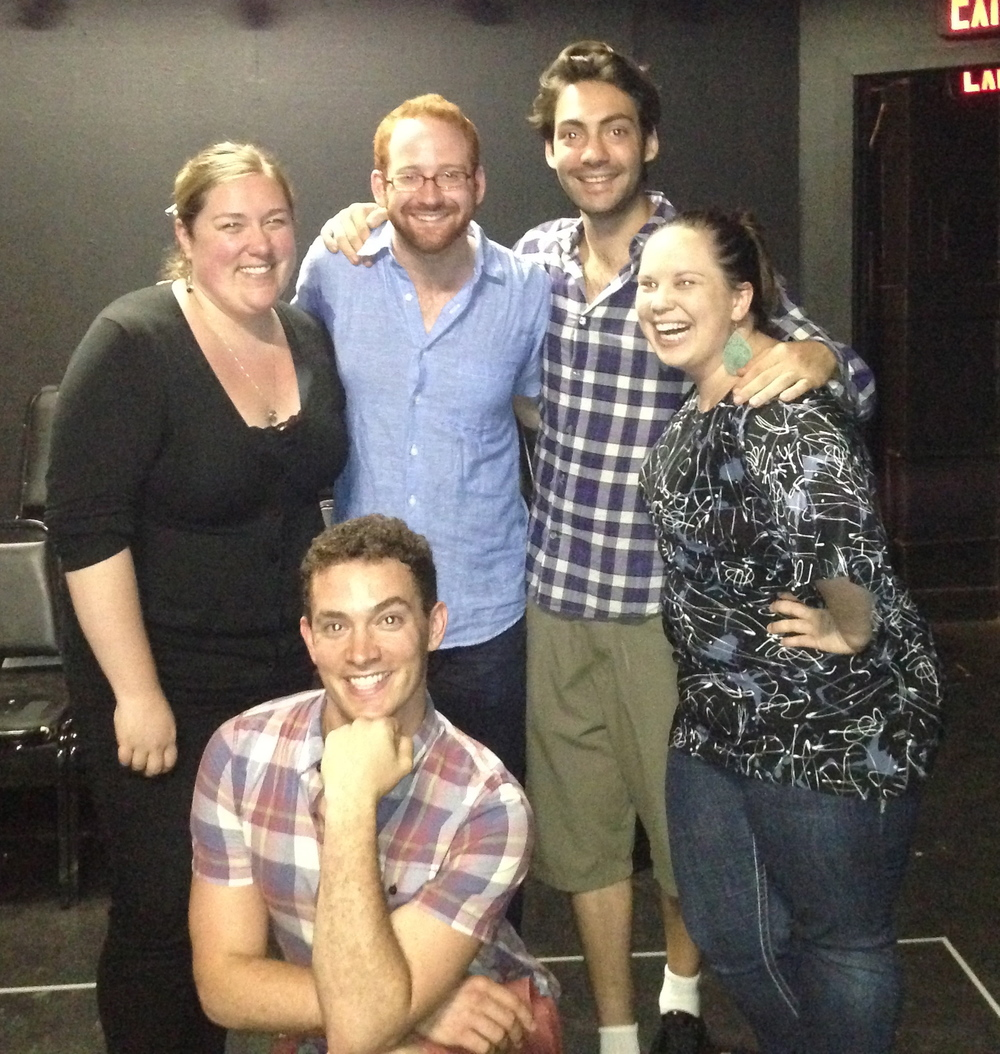 "Danielle Thomsen (Production Stage Manager), David Alpert (Director), Benjamin David Hoffman (""David""), Jessica McVay (Assistant Director), and Amos Wolff (""Benjamin"") in  The Four of Us ."