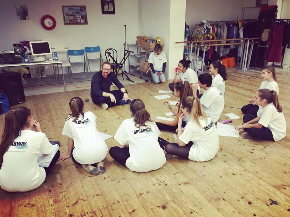 David teaching a group of students in Rome with The Broadway Experience, January 2016.