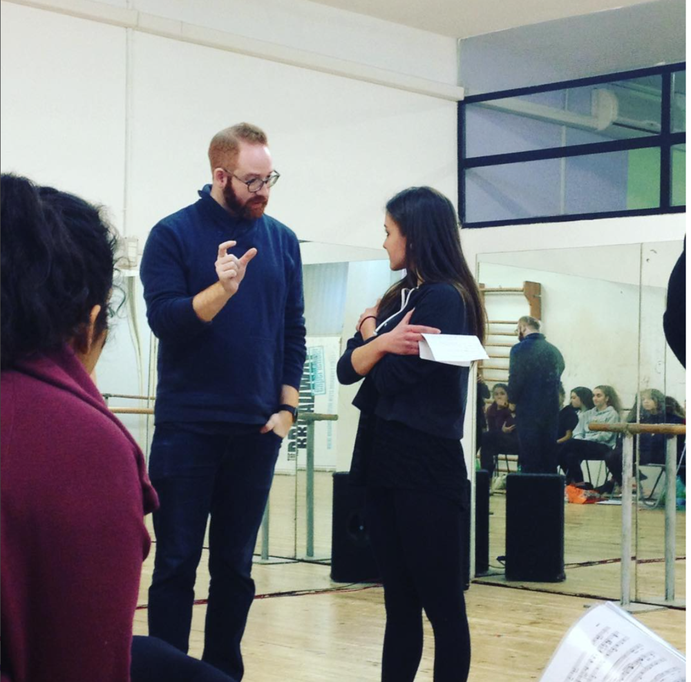 David works with a student doing a song interpretation class in Rome, Italy.