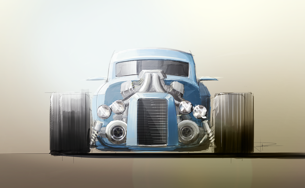 Front view of a hot rod, sketched out in Sketchbook Pro and then Photoshop and an hour or so for the render