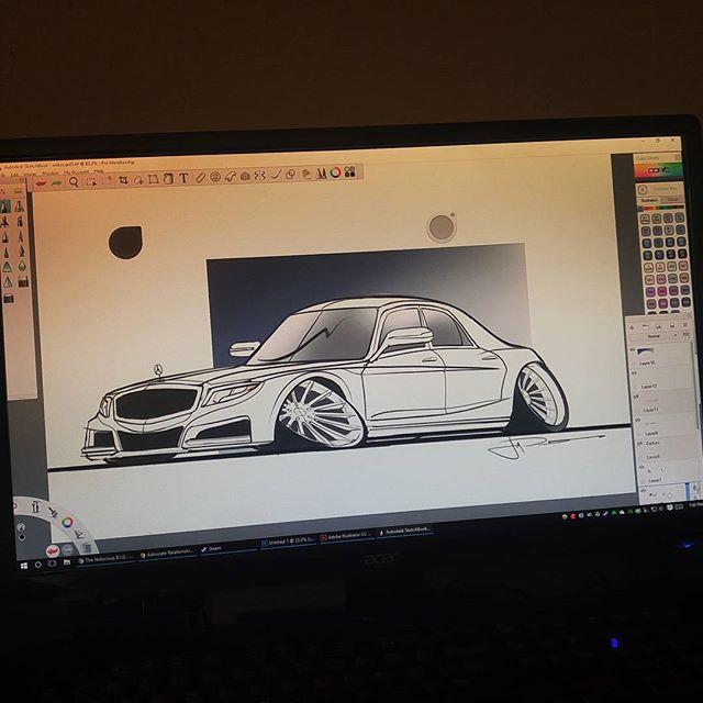 S550 car-tooned! This was super fun to draw haha #mercedess550 #cardrawing #autodesk #sketchbookpro #wacom #cartoon