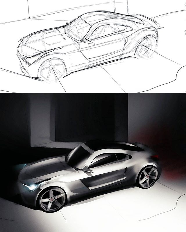 Very Nissan inspired car lol...Super rough sketch done in sketchbook pro and rendered with Photoshop.  Let me know what you guys think!  #autodesk #sketchbookpro #adobe #photoshop #wacom #carsketching #cardesign #transportationdesign #industrialdesign #designsketching #asuidsa #asu #digitalpainting #conceptart #nissan #nismo