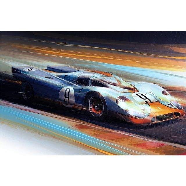 Wanted to try another one of these painting things, this time it's the Porsche 917K - 004/017 in the iconic gulf livery.  Built in 1969, this chassis was the first of the 917s to finish a race in its entirity, Nurburgring 1000km driven by David Piper and Frank Gardner. Over time the 917's went through some changes, and eventually got to a 4.9 liter flat 12, 0-60 in 2.3 seconds, 0-124 in 5.3 seconds,  and a tested top speed of 220 mph in 1975.  Would love to hear what you think of this! Trying to pay homage to a car with this much history, I was hesitant to even start.  #porsche #917 #gulf #gulflivery #Wacom #Adobe #photoshop #digitalpainting #carart #painting #Lemans #nurburgring #racing #racecar #Goodwood #24lemans #automotiveart #classic #Porsche917K #automotiveillustration #artwork #canvas