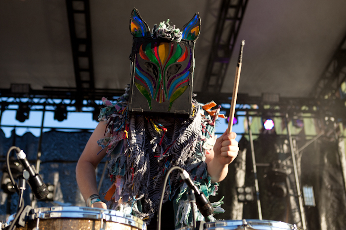 Slow Magic performing in their mask at Capitol Hill Block Party in July 2014.
