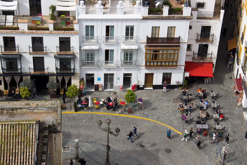 A view from the top ofLa Giralda bell tower in Seville, Spainin April, 2013.
