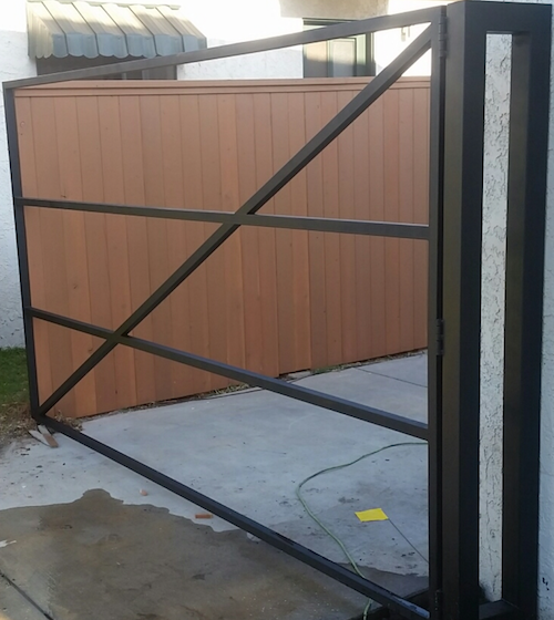 to the driveway gate frame and leave the steel frame exposed the wood will be installed on the back the framework image 2 is set up for an electric - Metal Gate Frame