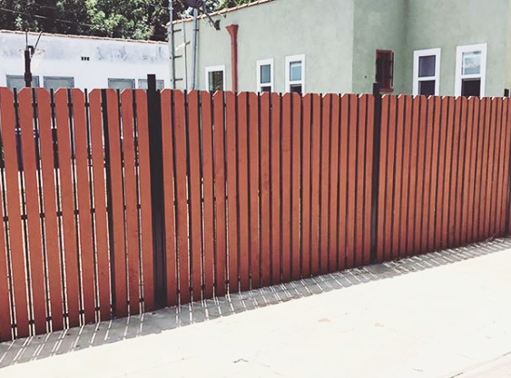 steel fence - wood add on - Los angeles 90016