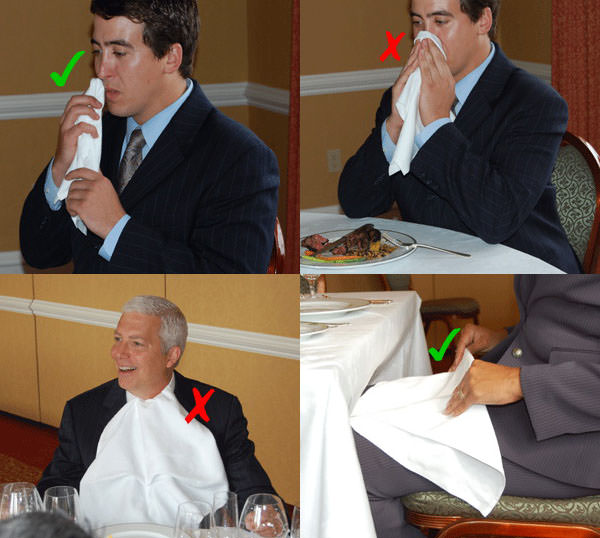 right and wrong ways of using a napkin