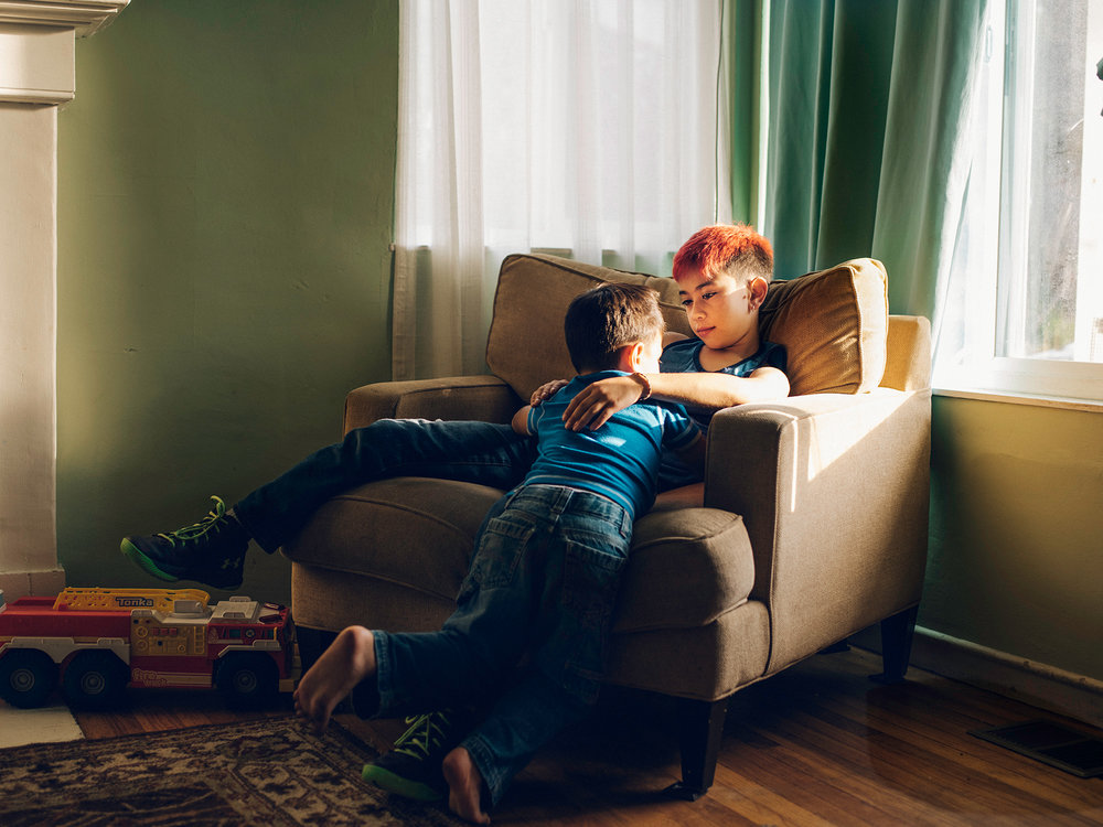 Justin,8, transgender boy and his cis gender brother, Northern California