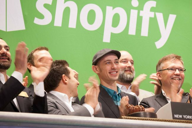 ©NYSE/Valerie Caviness- Shopify officials at the company's debut on the New York Stock Exchange in 2015.