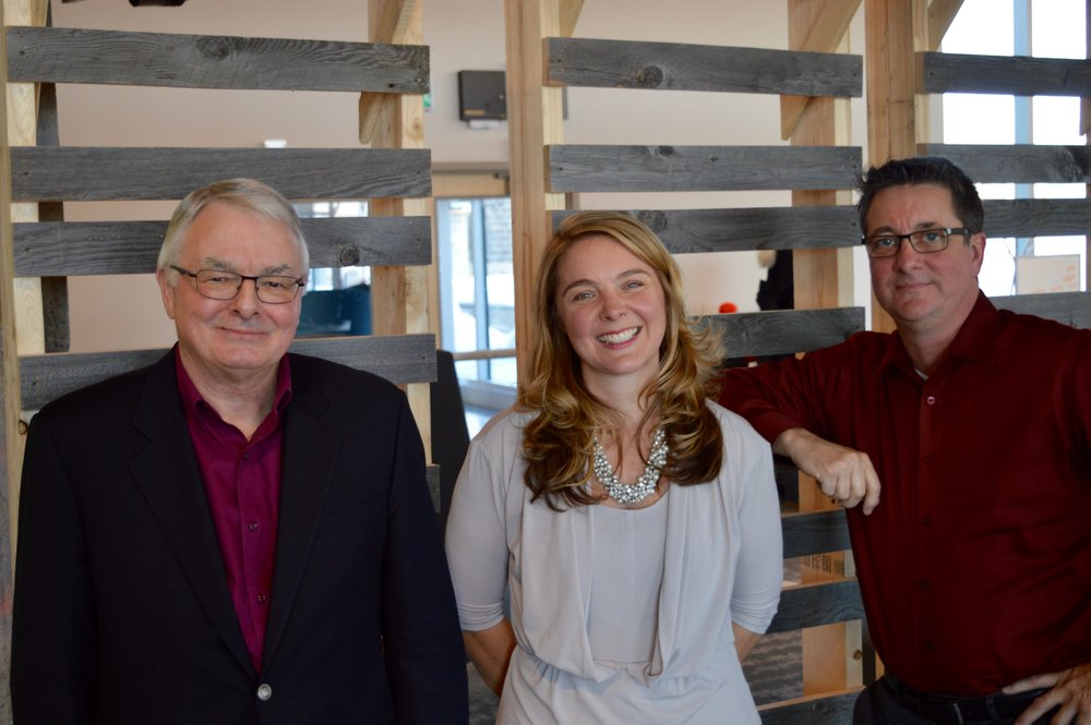Barrie Kirk (CAVCOE), Jenna Sudds (KNBIA), and Grant Courville (BlackBerry QNX). Photo by Craig Lord
