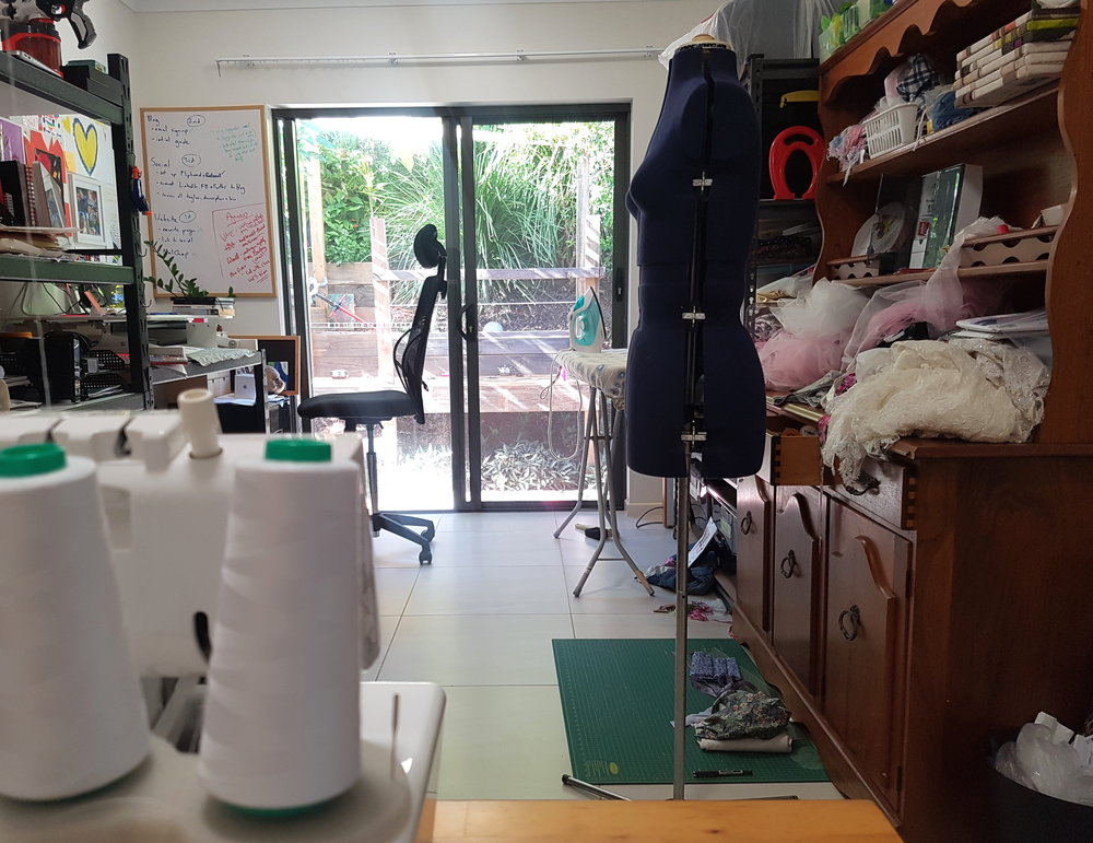 The view from my shiny new overlocker through the office/studio/workroom with my not-quite-as-shiny-but-still-pretty-flash mannequin