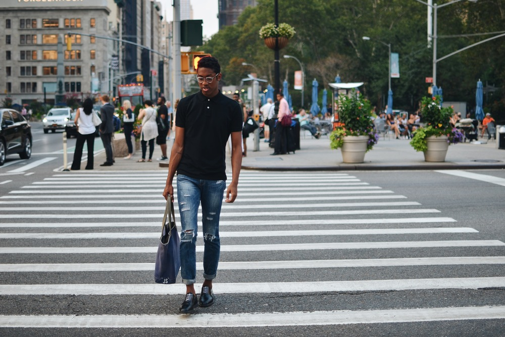 Hot child in the city--wearing #ThePerfectPolo (obviously). Bag designer and esteemed art student, Joshua McLeod of Victor + Alexander.  August, NYC.  Photos courtesy of the blogger/designer.