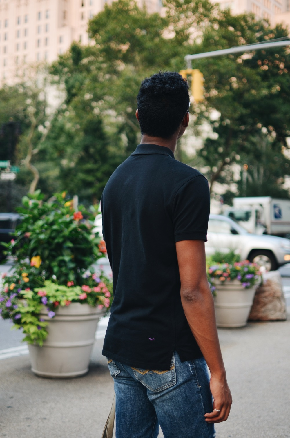McLeod wearing #ThePerfectPolo in Black, by Feldspar Brook.  August, NYC.  Photos courtesy of the blogger/designer