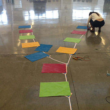 Make it work. - We tinkered and prototyped a way to create a public dance floor.From physical spacing and layout, to solidifying a reliable method of installing the electrical connections. Copper taped based connection kept it stuck to the ground, and cheap for the wallet.
