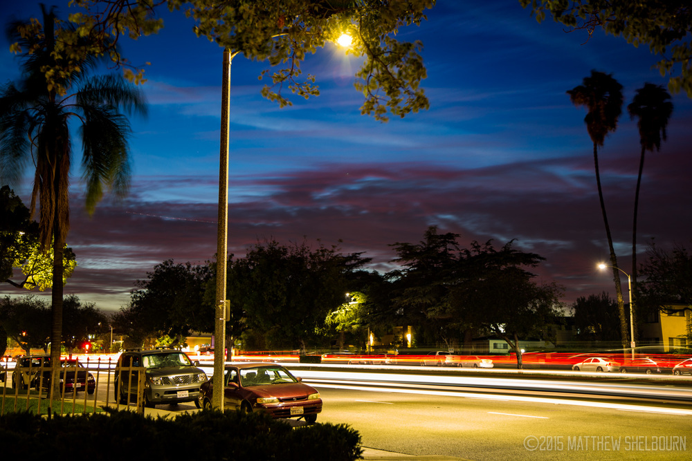 Long Exposure of Huntington Dr, Arcadia, CA at dusk. 09.27.2015