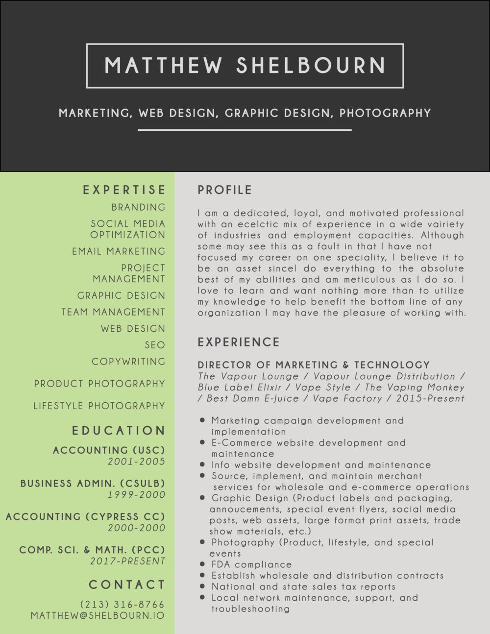 Matt's Resume Page 1