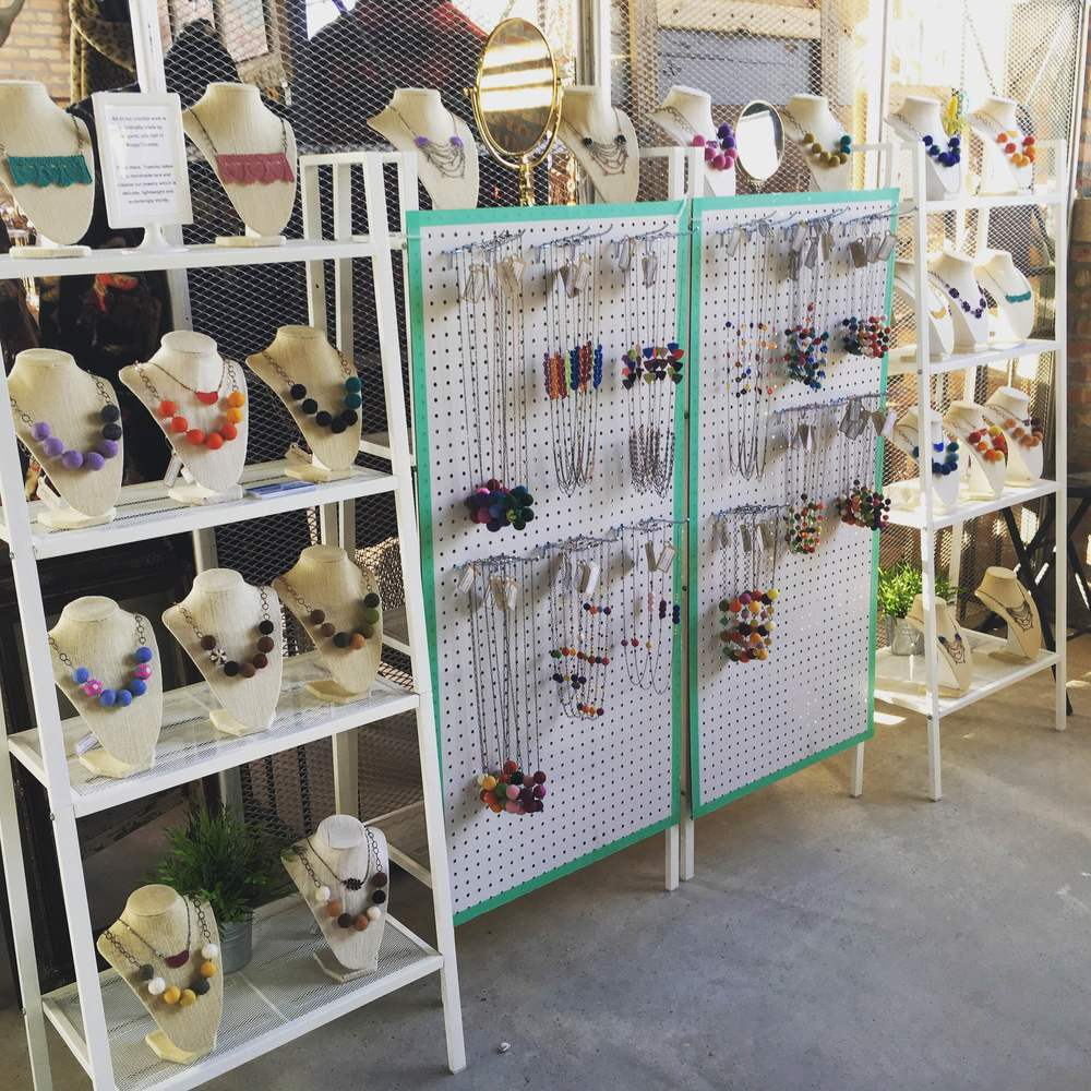 And here's a look at our new pegboard displays in action for the first time. Loved having all the necklaces together like that!