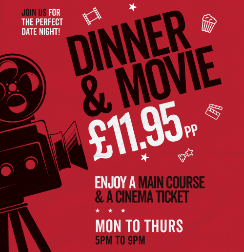 CINEMA CLUB Dine with us Monday - Thursday from 5=9pm and enjoy a main course and cinema ticket for £11.95. CLICK HERE to view our special cinema club menu.  Bookings recommended - call us on 028 9182 1444 or email info@mollybrownsbar.com