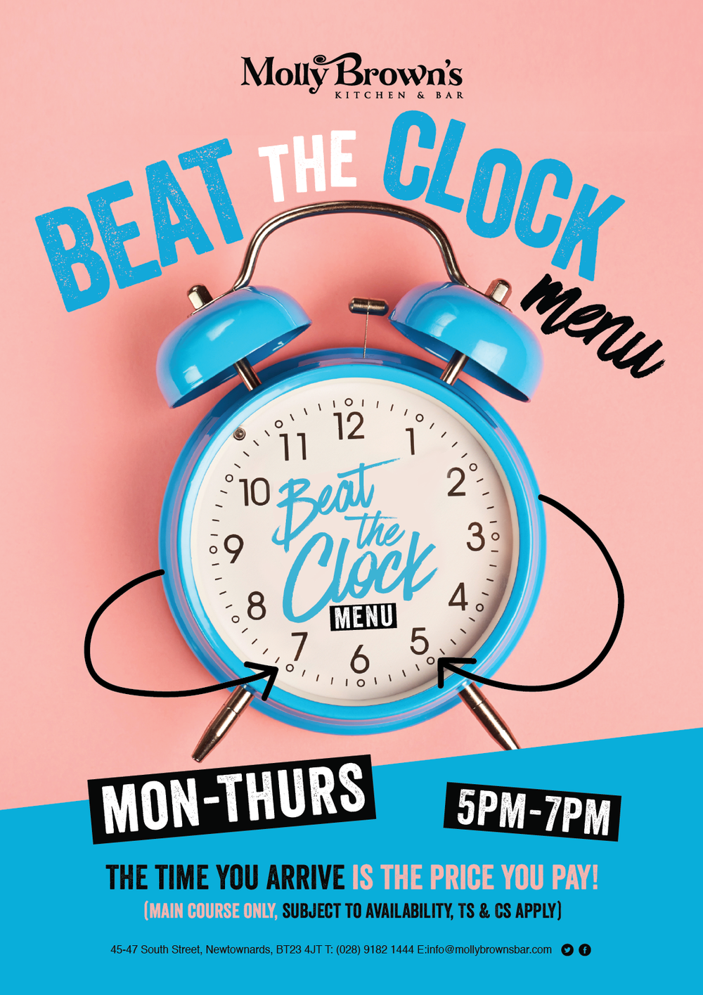 BEAT THE CLOCK Join us Monday - Thursday from 5-7pm for our beat the clock menu. CLICK HERE to view the menu located under the 'a la carte' tab. .
