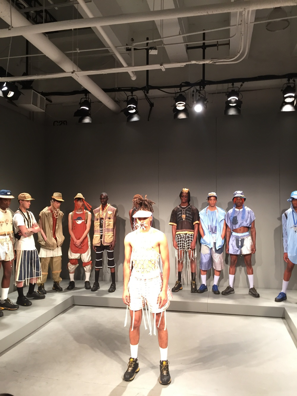 Gypsy Sport's collection was eclectic, sporty, and unorthadox -- tribal inspired accessories and futurist prints.