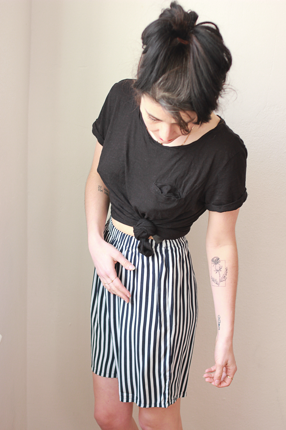 Pinstripe Long Shorts