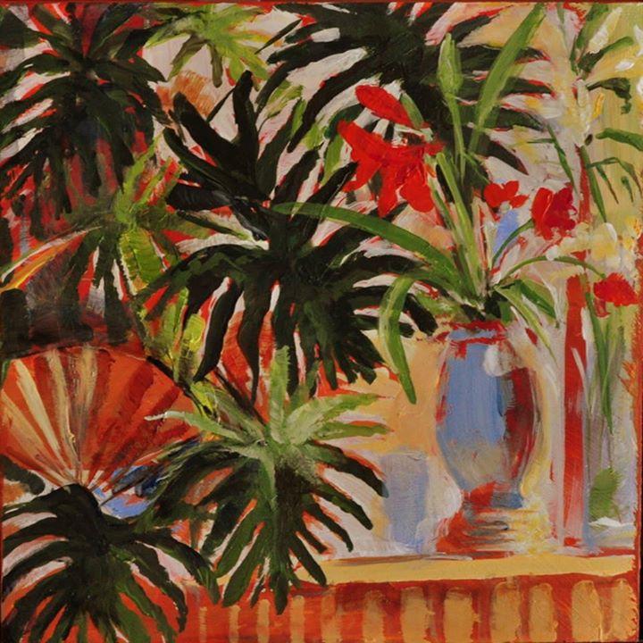 Red Amaryllis   Acrylic on Board   20 x 20cm