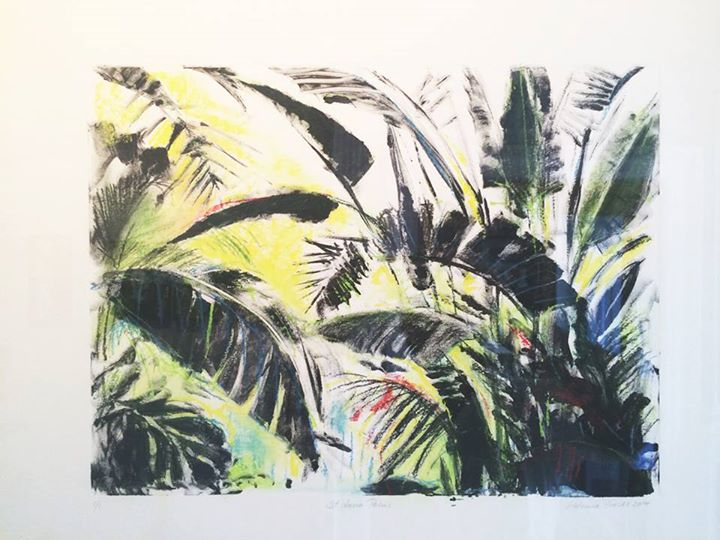 St Lucia Palms   Monotype with Pastel 1/1   50 x 58cm