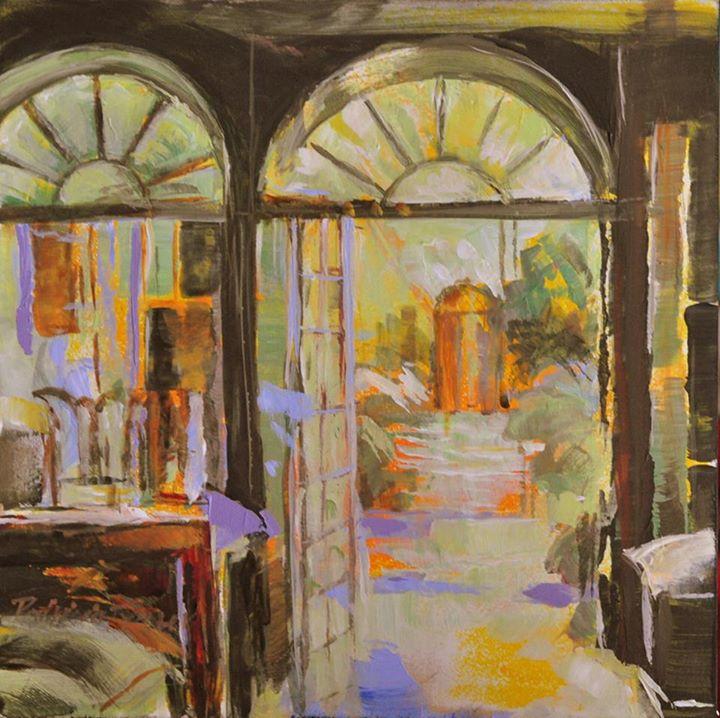 Interior, London   Acrylic on Board   20 x 20cm