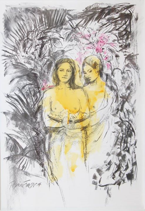 Gauguin Girls    Charcoal and Watercolour on Paper    45 x 31cm