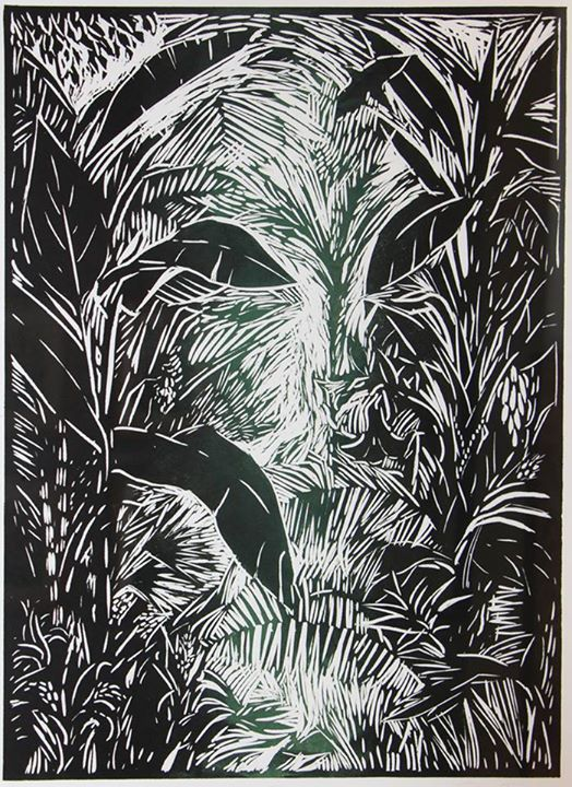 Foilage   Linocut, 1/1 (printed in two colours)   76,5 x 53,5cm