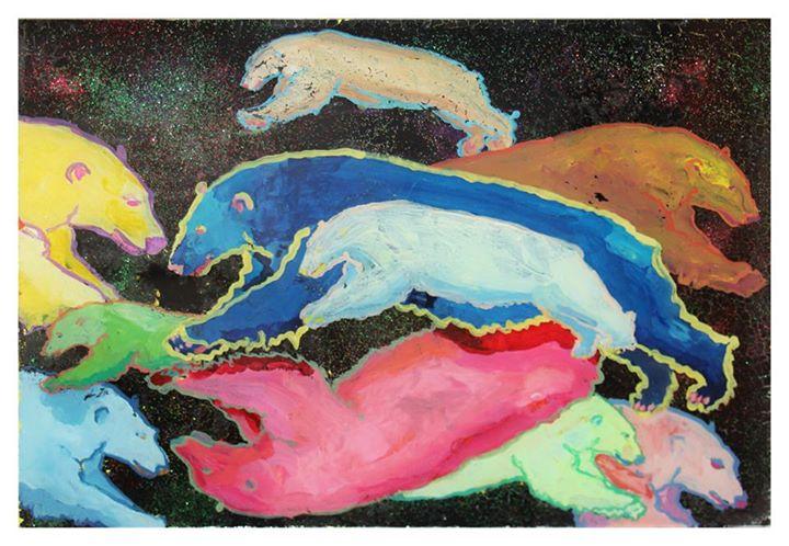 'Bipolar Bears'   Mixed Media on Glass   20.5 x 29cm