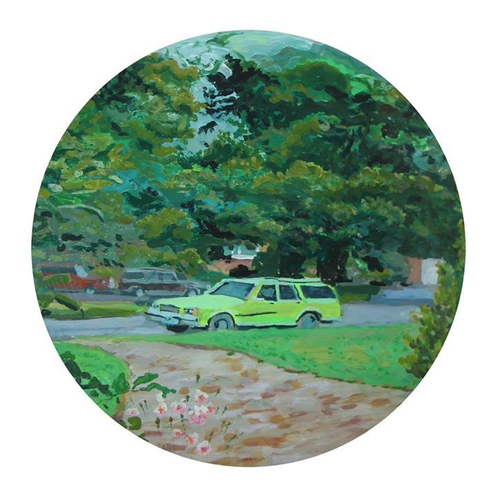 'Mother The Car Is Here'   Mixed Media on Glass   25cm diameter