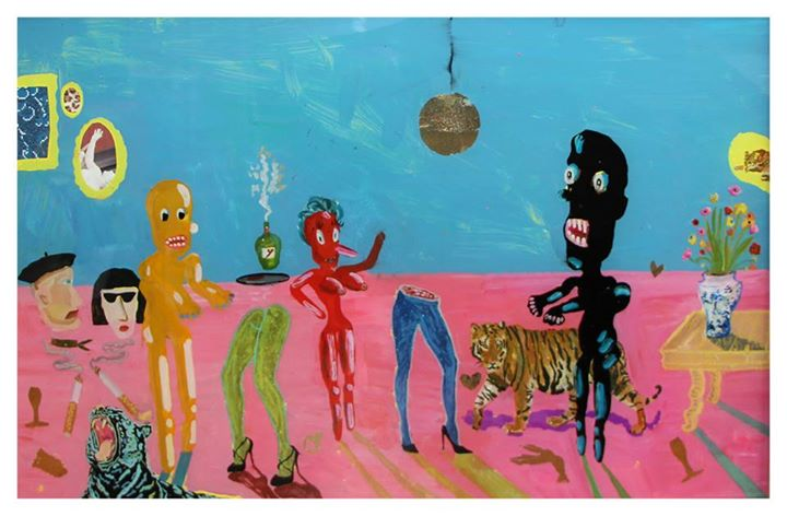 'The Party'   Mixed Media on Glass   49.5 x 78.5cm