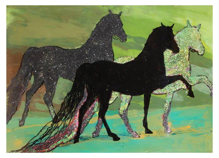 'Shining Stallions'   Mixed Media on Glass   20.5 x 29cm