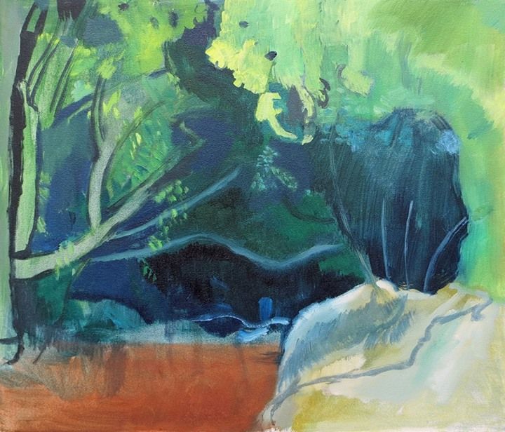 'The Glen'   Signed with the Artist's Monogram   Oil on Canvas   60 x 70cm