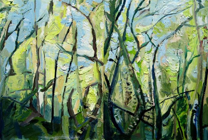 'Indigenous Forest '   Signed with the Artist's Monogram   Oil on Board, (diptych)   40 by 60cm