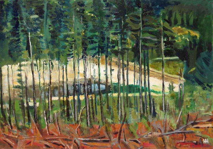'A View Through the Trees'   Signed with the Artist's Monogram   Oil on Canvas    45 x 61cm