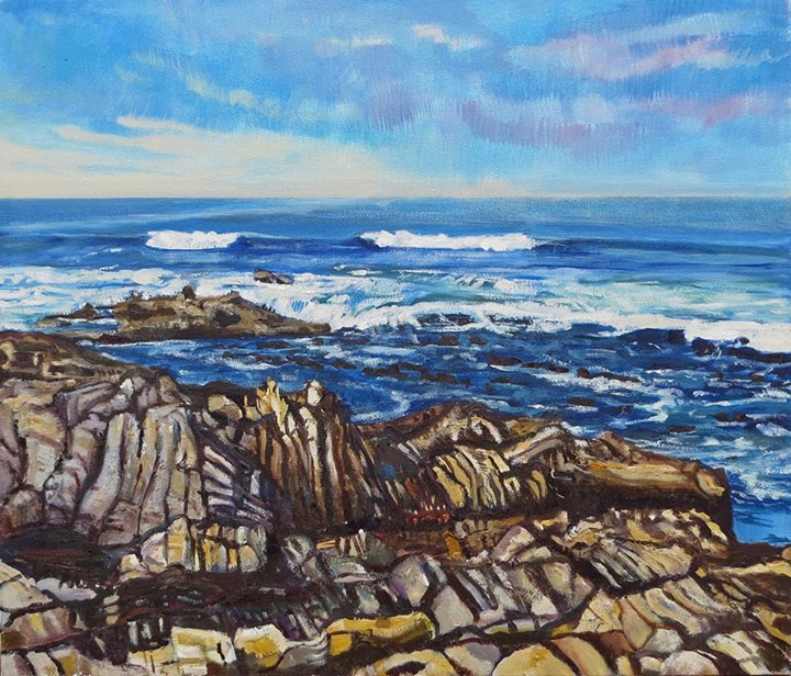'Near Kleinbaai'   Signed with the Artist's Monogram   Oil on Canvas   60 by 70cm