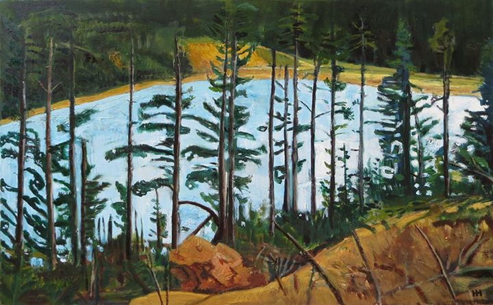 'Lake Through The Trees'   Signed with the Artist's Monogram   Oil on Board   51 by 76cm