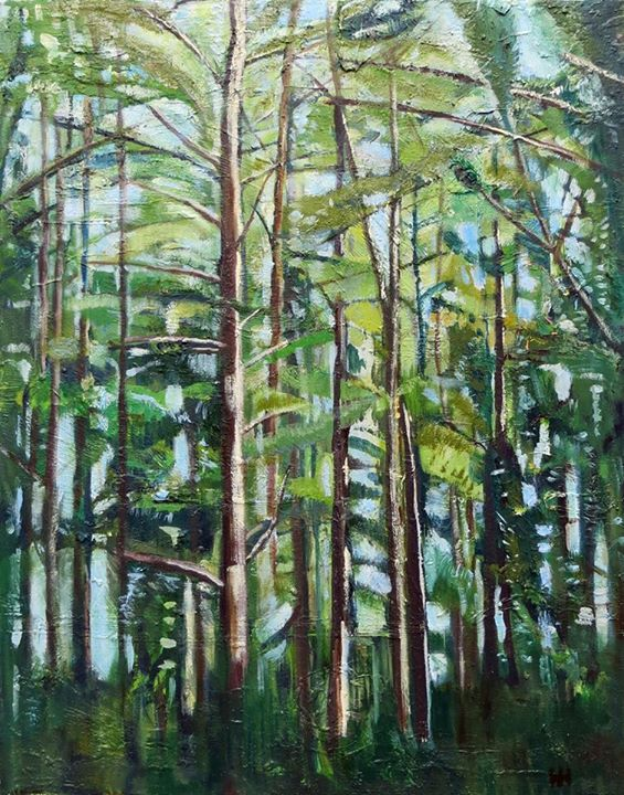 'Pine Forest'    Signed with the Artist's Monogram   Oil on Canvas   70 x 56cm
