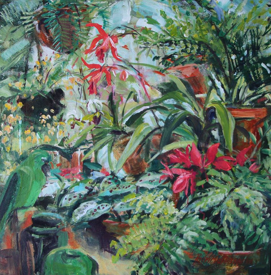 'Montebello Potting Shed with Orchid and Ginger Jars' Acrylic on Canvas 40 x 40 cm R 4 200 SOLD