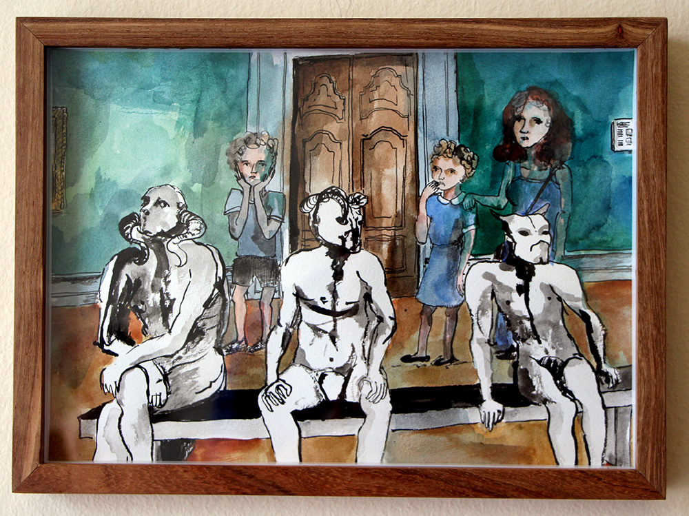 'Family Outing, ISANG'   Ink Drawing & Watercolour 290 x 210 m  m R 2 200 RESERVED