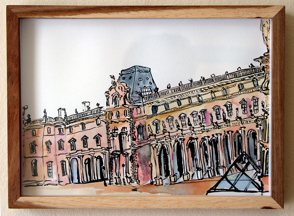 'The Queu, Louvre'   Ink Drawing & Watercolour 290 x 210 mm R 2 200 SOLD