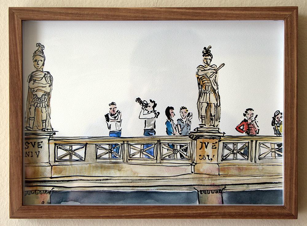 'Roman Bathers, Bath'   Ink Drawing & Watercolour 290 x 210 m  m R 2 200