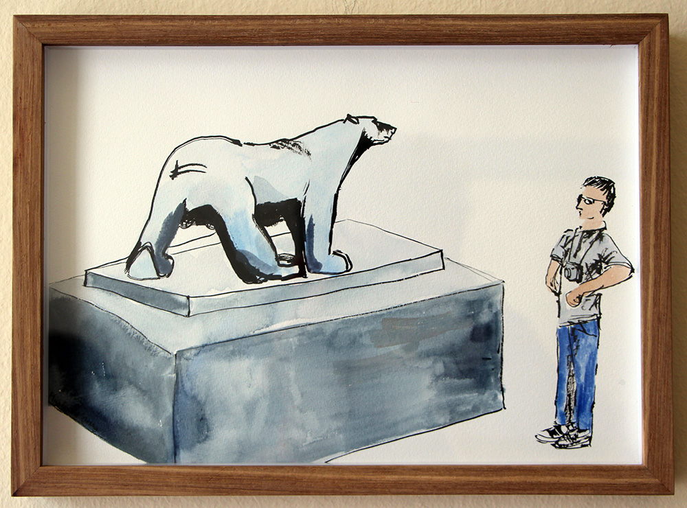 'Pompon Bear, Orsay'   Ink Drawing & Watercolour   290 x 210 mm R 2 200  SOLD
